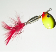 6 Gram Spin Feather Lure Red Yellow Black. Perfect for Trout Redfin Spin Fishing Lures