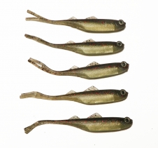 5 Pack Scented Realistic Minnow Lures Dark & Light Brown with Silver Soft Plastic Fishing Lures