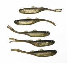 5 Pack Scented Realistic Minnow Lures Black Light Brown Silver Soft Plastic Fishing Lures