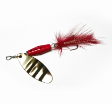 12 Gram Spin Feather Lure Red Gold Black. Perfect for Trout Redfin Spin Fishing Lures